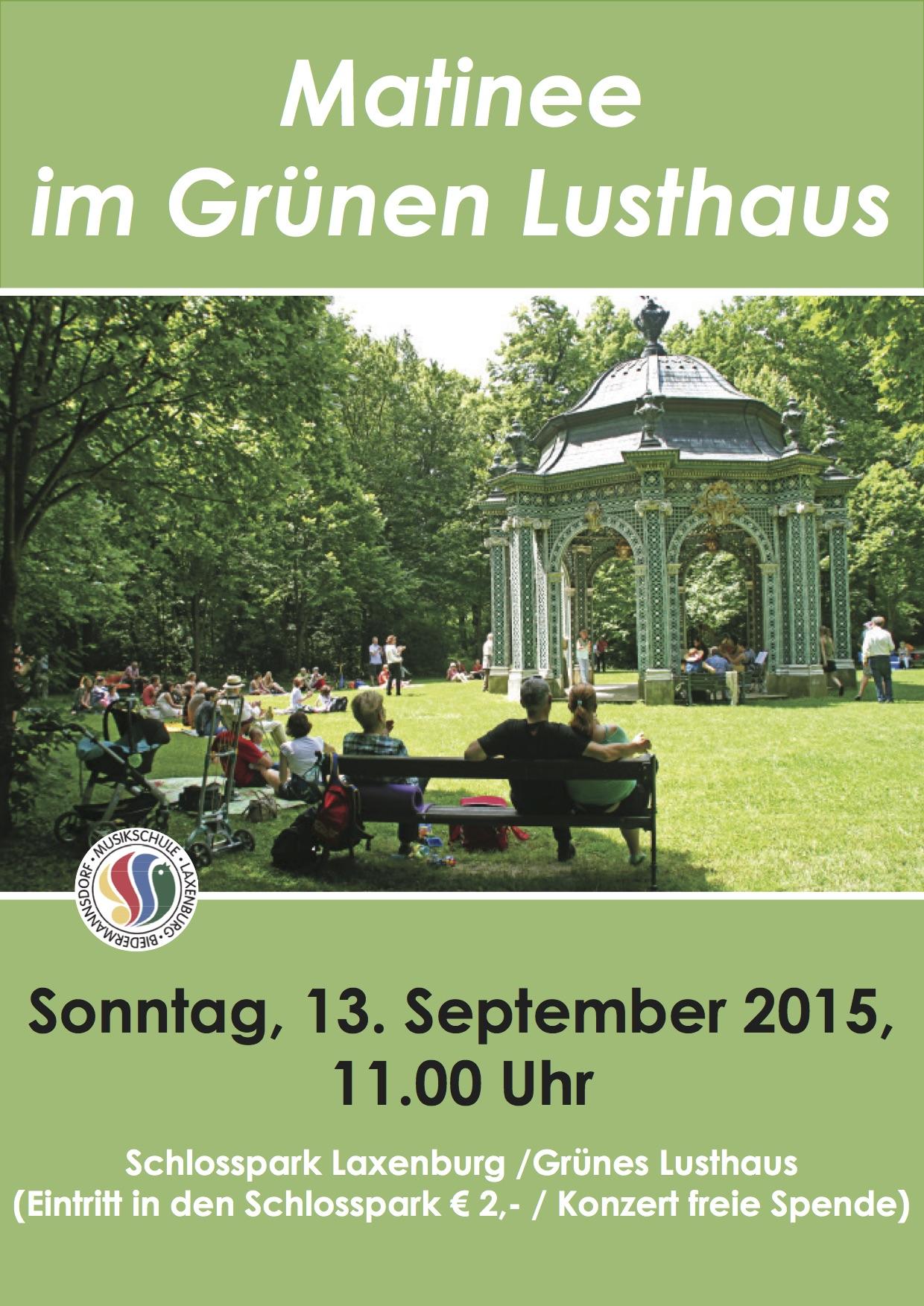 Matinee im Schlosspark-Plakat – September 2015
