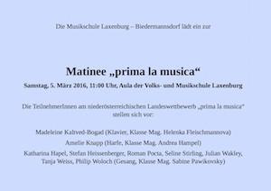 "Plakat Matinee ""prima la musica"" 2016"