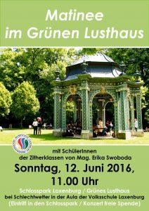 Plakat Matinee im Schlosspark 2016 Juni