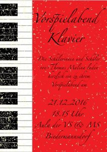 Plakat Vorspielabend Klavier, Klasse Thomas Malina