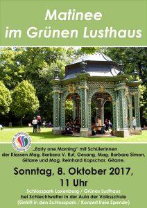 Plakat Matinee im Schlosspark Oktober 2017