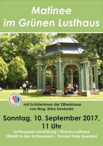 Plakat Matinee im Schlosspark September 2017