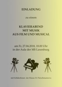 Plakat Klavier-Klassenabend Fleischmannova 2018
