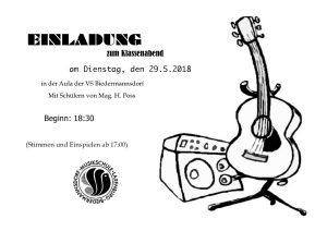 Plakat Klassenabend Gitarre, Klasse Heiko Poss