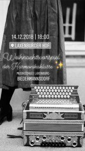 Plakat Weihnachtsvorspiel Harmonikaklasse 2018