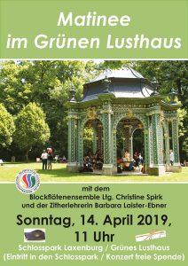 Plakat Matinee im Grünen Lusthaus 14. April 2019
