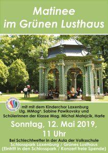 Plakat Matinee im Grünen Lusthaus, Mai 2019