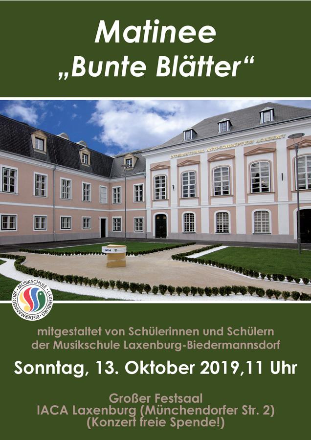 """Plakat Matinee """"Bunte Blätter"""", Oktober 2019"""