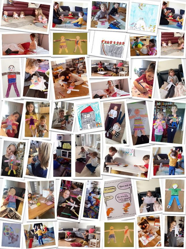 Collage aus einer großen Anzahl von Bildern, die die Kinder der Kindergruppen daheim beim musizieren, tanzen, malen und basteln zeigen.