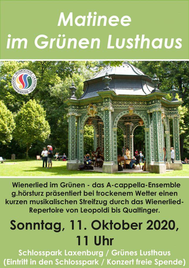 Plakat Matinee im Grünen Lusthaus, Oktober 2020